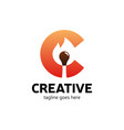 hot creative letter c logo with burn match smart vector image vector image