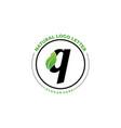 letter q with leaf logo green leaf logo icon vector image vector image