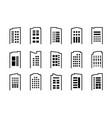 Line icons company set on white background black