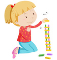 Little girl stacking wooden blocks vector image