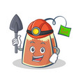 Miner tea bag character cartoon art vector image