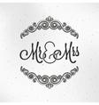 Mister and Miss Wedding Logo Design Background vector image