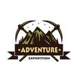mountain climbing adventure logo vector image vector image