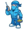 ninja repairman mascot vector image vector image
