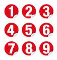 number set sticker red vector image vector image