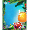 Orange cocktail on a winter background vector image vector image