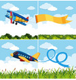 scenes with airplanes flying in blue sky vector image vector image