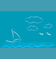 seascape with sailboat romantic style vector image