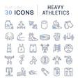 set line icons heavy athletics vector image