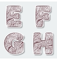 Set of capital letters E F G H from the vector image