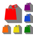 shopping bag sign with tag set of red orange vector image vector image