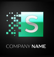 silver letter s logo symbol in the green square vector image vector image