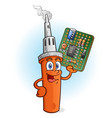 soldering iron cartoon character with circuit boar vector image vector image