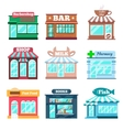 Store and shop buildings flat icons set vector image vector image
