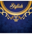 Stylish design Decorated iconblue and gold vector image