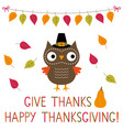 thanksgiving card with a cute owl vector image vector image