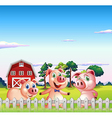 Three pigs dancing inside the fence vector image vector image