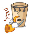 with trumpet conga mascot cartoon style vector image