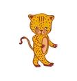 Cute leopard cartoon Cheetah Hand-drawn icon vector image