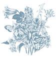 monochrome hand drawn garden flowers vector image