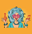 young woman music notes instead of hairstyles vector image