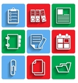 Flat Document Office Icons with Shadow vector image