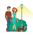 man and woman walking with a dog isolated on white vector image