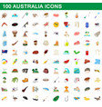 100 australia icons set cartoon style vector image vector image