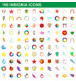 100 insignia icons set cartoon style vector image vector image