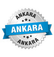 ankara round silver badge with blue ribbon vector image vector image