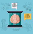 artificial intelligence poster with human brain in vector image