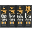 BBQ menu pizza menu seafood menu beer menu vector image vector image