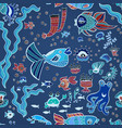 blue doodle children fish pattern vector image vector image