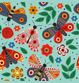 blue seamless pattern with butterflies and flowers vector image