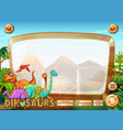 border template with many dinosaur vector image vector image