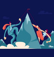 businessman and businesswoman climb to the top of vector image