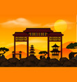 chinese gate on the rock at sunset vector image vector image