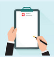 clipboard in hand doctor vector image vector image