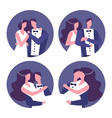 couples in love wedding couples icons vector image