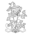 doodle coloring book page flower cup tea vector image vector image