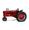 drawing tractor stylized as engraving vector image vector image