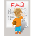 faq little boy vector image vector image