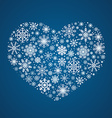 frosty snowflakes in heart shape vector image vector image
