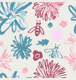 funky floral pattern with bees blue and pink vector image vector image