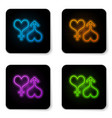 glowing neon male and female symbol heart icon vector image vector image