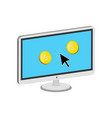 golden coins jump out of display make money vector image vector image