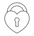 Heart lock icon outline style vector image vector image