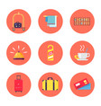 hotel stuff and baggage icons vector image vector image