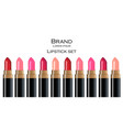 lip stick collection cosmetics colors set vector image vector image
