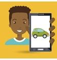 man smartphone car web vector image vector image